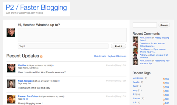 """Crie o seu próprio """"Twitter"""" usando WordPress P2-_-faster-blogging-3"""