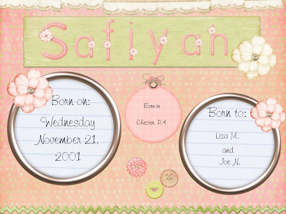 Digital Scrapbooking Using PowerPoint Safiyah-memory-book-page
