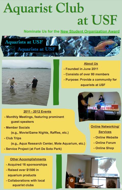 Nominate the Aquarist Club at USF! OutstandingNewStudentOrganizationAwardFlyer