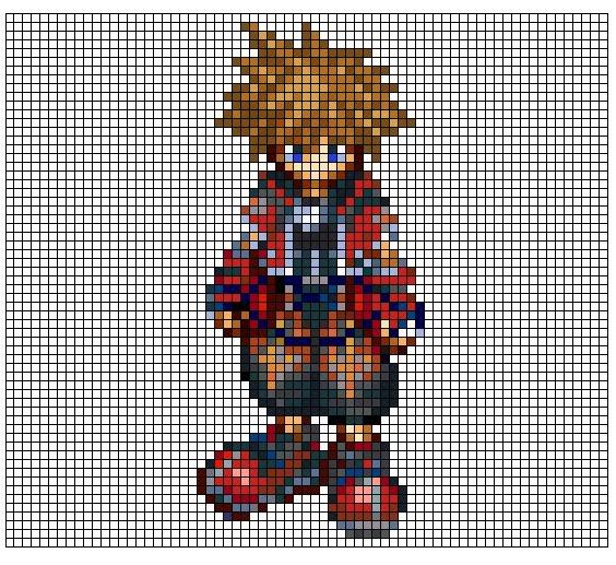 Kingdom Hearts Pixel Patterns ValorFormSora1