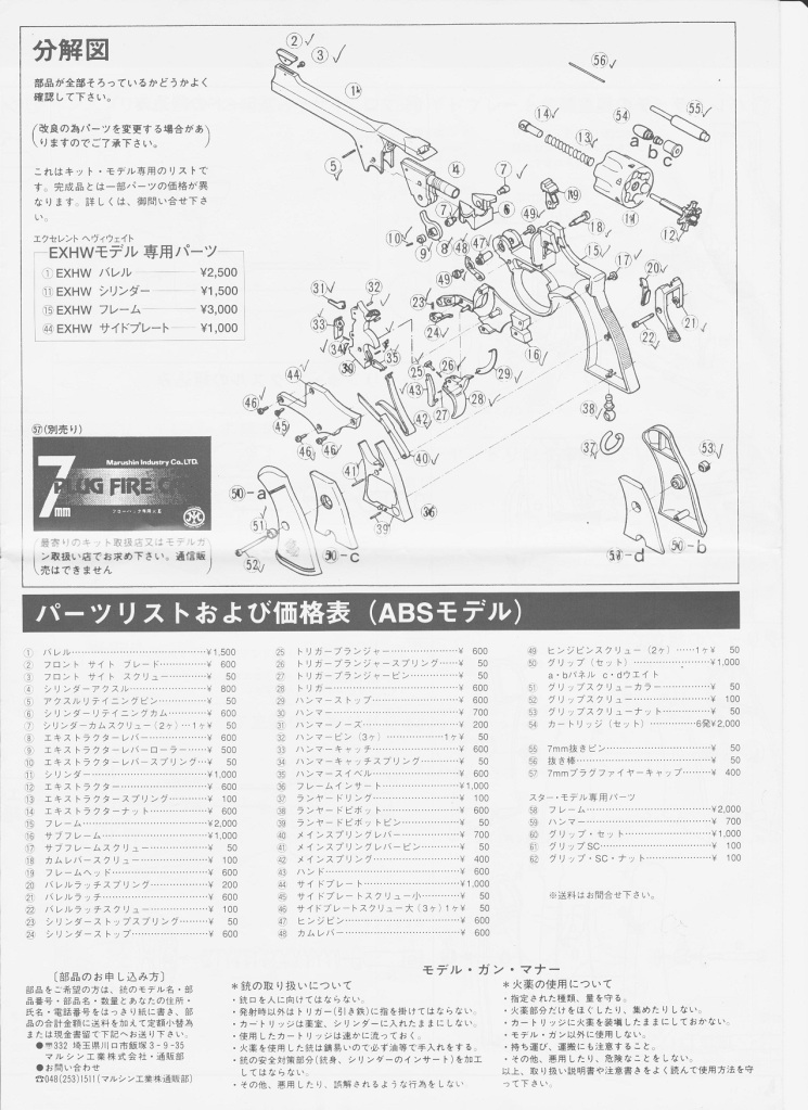 Wanted Please, Eploded Diagram Enfield Revolver (Marushin) Page6