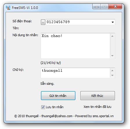 FreeSMS-Vi 1.0.2 - Gửi tin nhắn miễn phí đến các thuê bao tại Việt Nam Freesms-vi