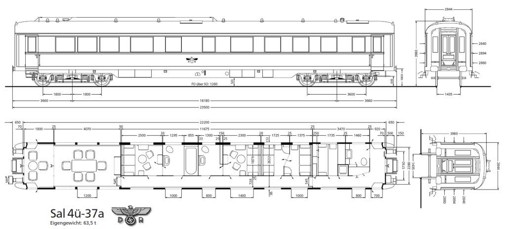 Salonwagen Sal 4ü-37a der DR MEDIDASVAGN-SAL4u-37a