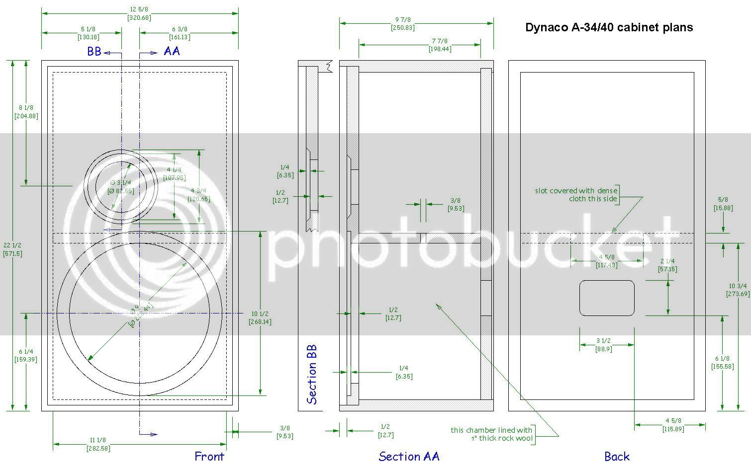 Dynaco A-10, A-25, A-35 (40) speaker schematics - photos DynacoA35_40cabinetplans