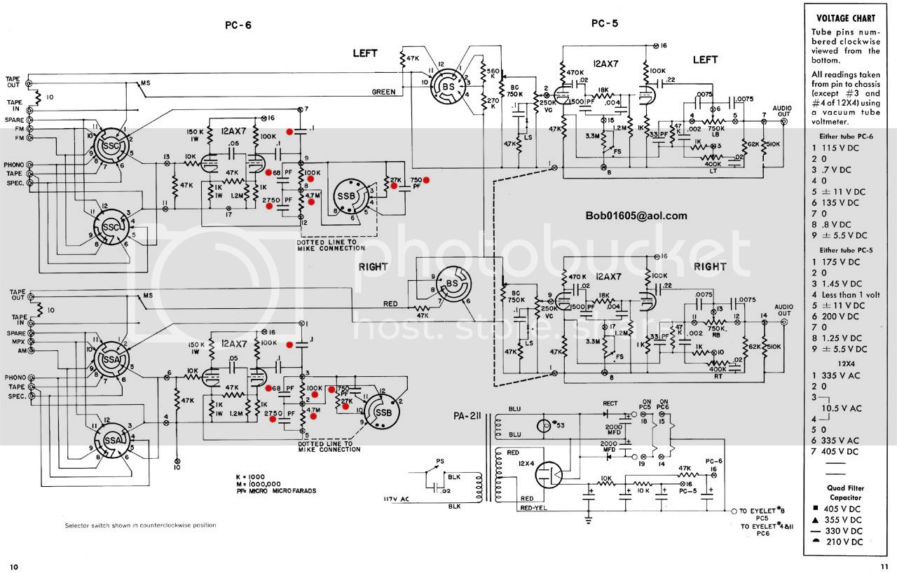 Dynaco PAS-3 RIAA phono equalization upgrade - photo DynacoPAS2_PAS3schematic_1280