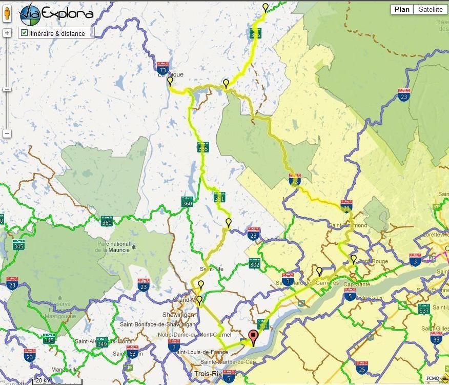 Trois-Rivières/La Tuque/Lac Édouard/St-Raymond photo ride-report 4-5 janvier 2013 Carte1-2