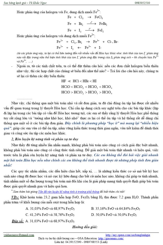 Một số vấn đề trọng điểm để ôn thi môn Hóa nhanh và hiệu quả Ontaphieuqua03