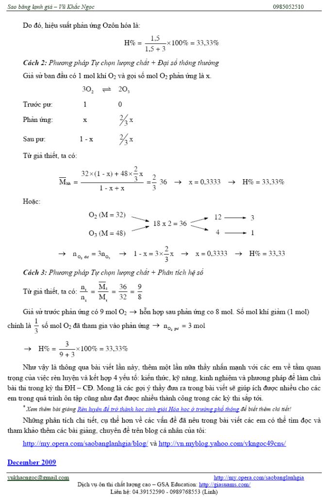 Một số vấn đề trọng điểm để ôn thi môn Hóa nhanh và hiệu quả Ontaphieuqua11