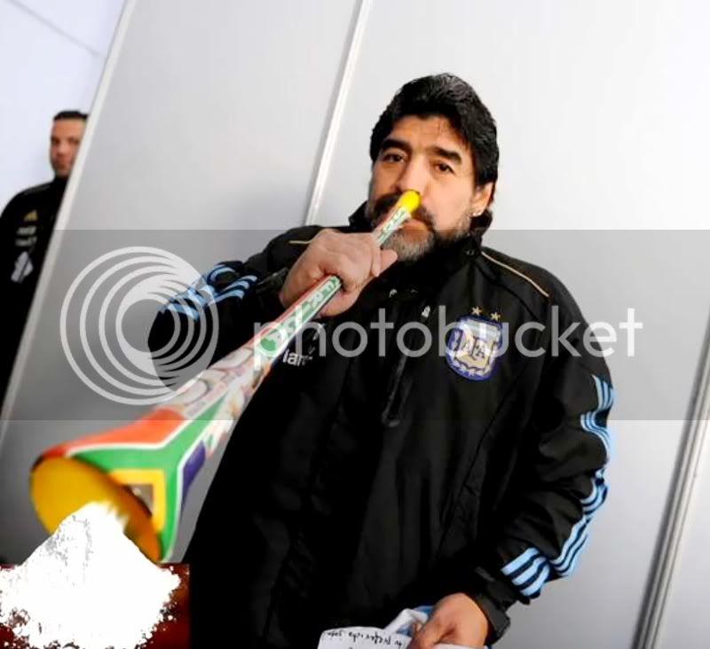 Maradona e vuvuzela na Copa do Mundo Maradonanacopa