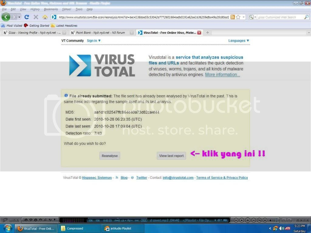 cara menyertakan Hasil Virus Total 3