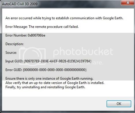 Civil 3D 2011. Import surface from Google Earth  GE-Error01