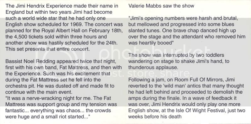 Londres (Royal Albert Hall) : 24 février 1969 HendrixListenToThisInside