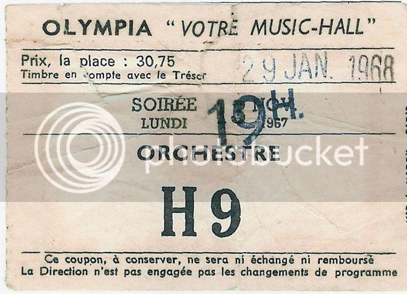 Paris (Olympia) : 29 janvier 1968 [Premier concert] Billet