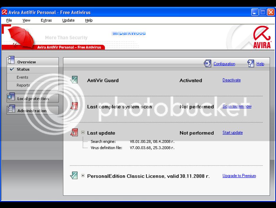 Avira AntiVir Personal 10.0.0.611 AviraScreen