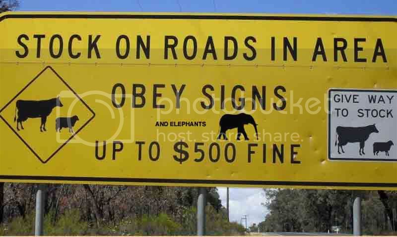 ITS OFFICIAL! Vic Roads acknowledges existance of big cats in Victoria ElephantRoadSign