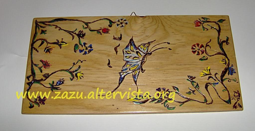 Pirografia: pannello fiori e farfalle HPIM0990