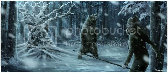 The Great Bear 2d_horror_snow_woods_ice_moonlight_bear_girl_female_woman