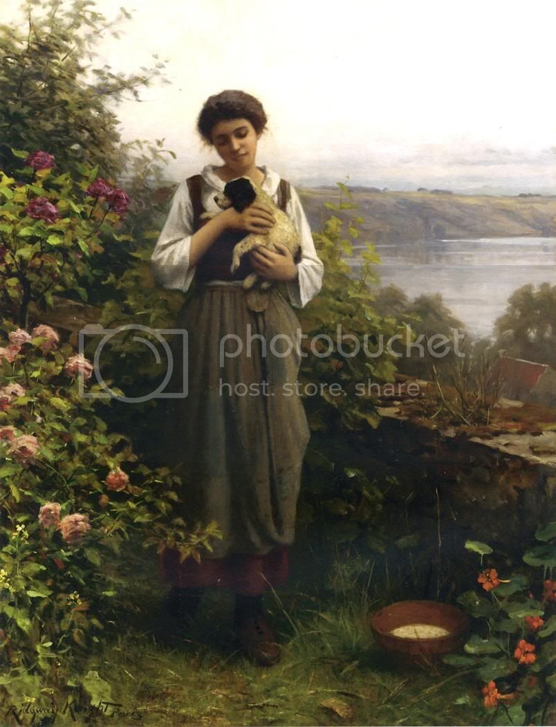 لوحات زيتيه رائعة حصريا فقط علي منتديات الزخرفة والاعلان Knight_Daniel_Ridgway_Young_Girl_Holding_a_Puppy