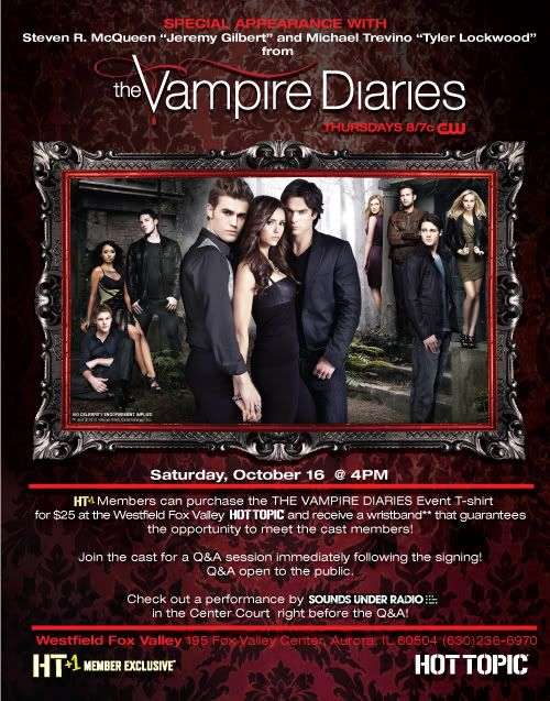 Steven R McQueen and Michael Trevino Appearing at Westfield Fox Valley  Vampirediariesil