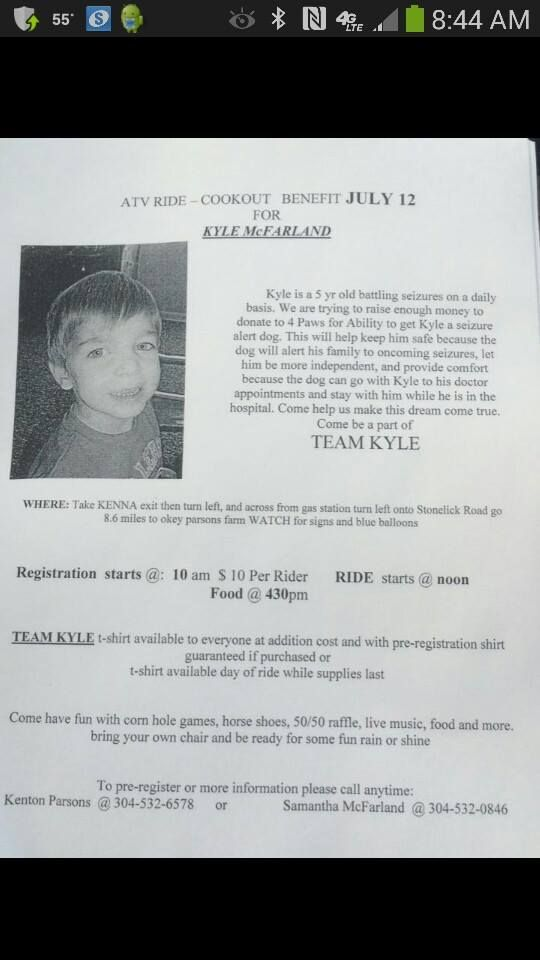 Benefit Ride July 12th Kyle