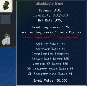 Items obtainable from NPCs AbaddonsHand