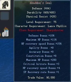 Items obtainable from NPCs AbaddonsSeal