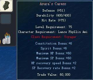 Items obtainable from NPCs AsurasCaress