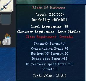 Items obtainable from NPCs BladeOfDarkness