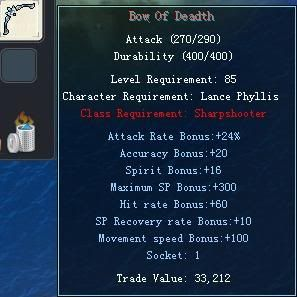 Items obtainable from NPCs BowOfDeadth