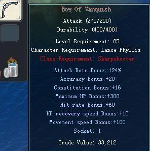 Items obtainable from NPCs BowOfVanquish