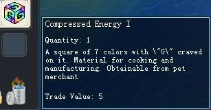 Items obtainable from NPCs CompressedEnergyI