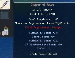 Items obtainable from NPCs DaggerOfAsura