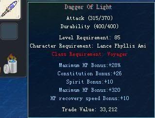 Items obtainable from NPCs DaggerOfLight