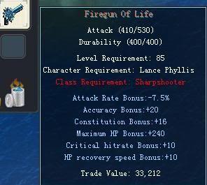 Items obtainable from NPCs FiregunOfLife