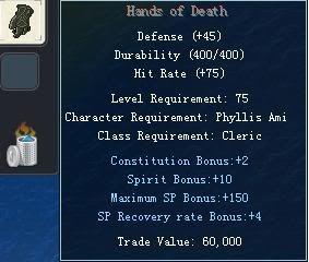 Items obtainable from NPCs HandsofDeath