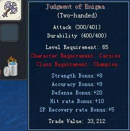 Items obtainable from NPCs JudgmentofEnigma