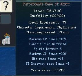 Items obtainable from NPCs PutrescenceBoneofAbyss