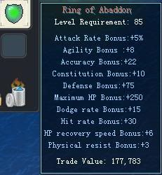 Items obtainable from NPCs RingofAbaddon