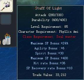 Items obtainable from NPCs StaffOfLight