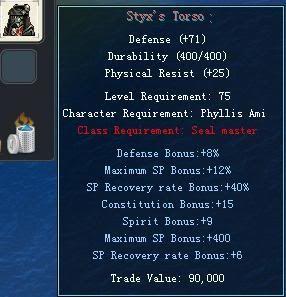 Items obtainable from NPCs StyxsTorso
