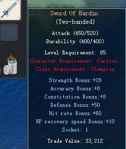 Items obtainable from NPCs SwordOfHardin
