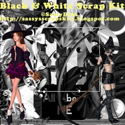 SD Black & White Scrap Kit FTU SassyDebsBlackWhitePreview