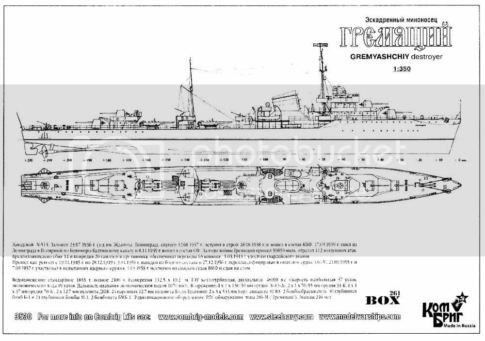 Destroyer soviético Gremyashiy da classe Gnevny COM