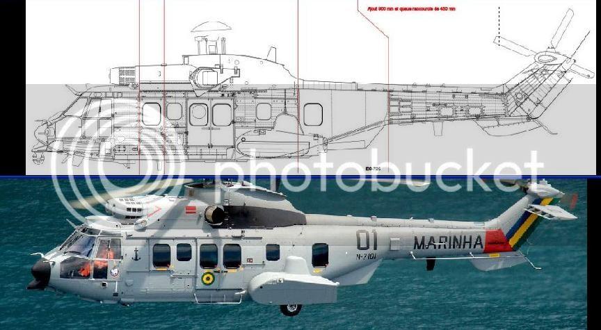 Helicópteros MB: Aviação Naval Brasileira, Seahawk MH 16 e Cougar/ EC725 Super Cougar CompEC725draw