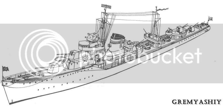 Destroyer soviético Gremyashiy da classe Gnevny GR1T