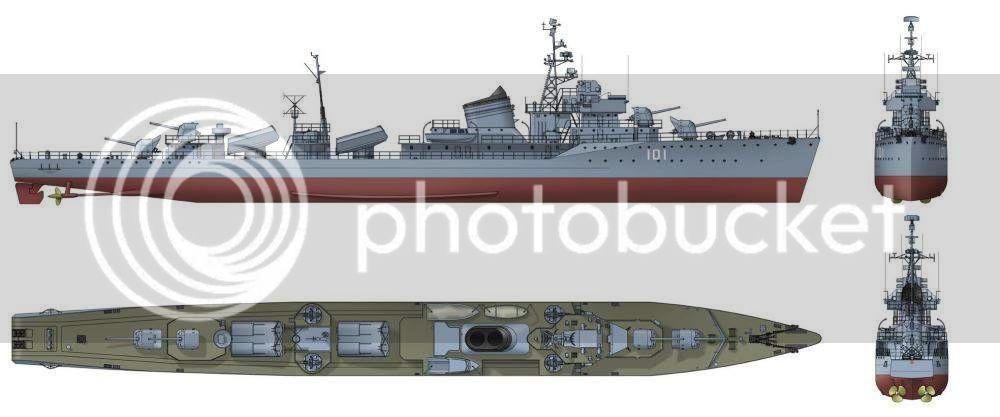 Destroyer soviético Gremyashiy da classe Gnevny An1