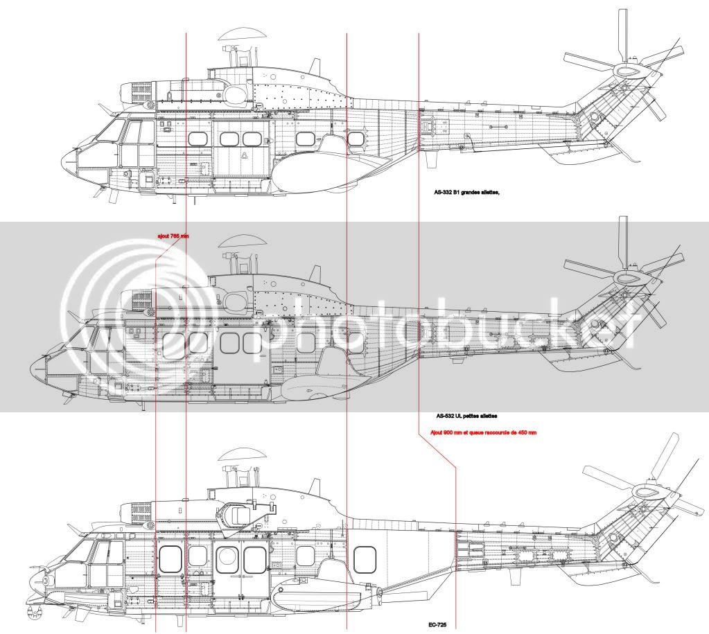 Helicópteros MB: Aviação Naval Brasileira, Seahawk MH 16 e Cougar/ EC725 Super Cougar PlanAS-332comparatif72emejpg