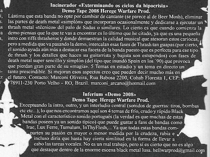 HEREGE WARFARE PROD. - Heavy Metal tape label & distro - DESASTER + + NOCTURNAL + INFERIVM+ GEHENNAH - Página 2 IncineradorInferivmBleackZineEspanha