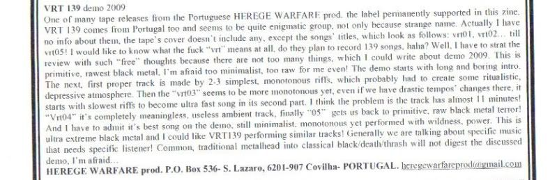 HEREGE WARFARE PROD. - Heavy Metal tape label & distro - DESASTER + + NOCTURNAL + INFERIVM+ GEHENNAH VRT139Necroscopezine