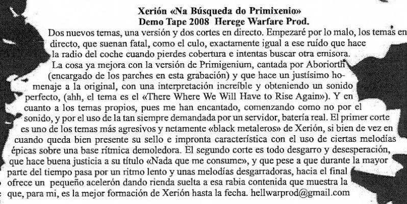 HEREGE WARFARE PROD. - Heavy Metal tape label & distro - DESASTER + + NOCTURNAL + INFERIVM+ GEHENNAH - Página 2 XerionBleackZineEspanha